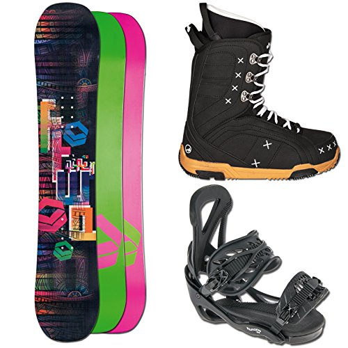 Ftwo Snowboard Set Gipsy 152 + ELFGEN Team SMO Girl BINDUNG Black M + Boots