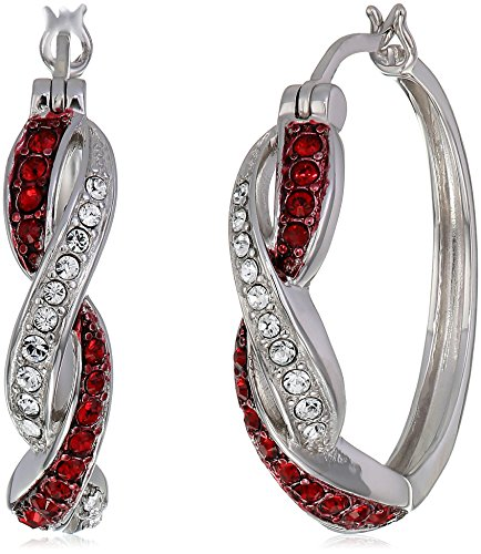 Sterling Silver Siam Red and White Twisted Hoop Earrings Made with Swarovski Crystal