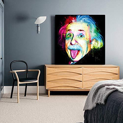 SYFDW Leinwand Bild Druck Gemälde Bunt Einstein Witzig Moderne Art Poster Leinwandbild Schlafzimmer Wandkunst Kunst Wohnzimmer Malerei Wandbilder Design 70X70Cm