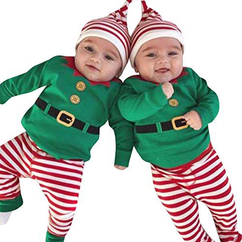Zolimx Outfit Natale Set, Bambino Vestiti di Natale Neonati Ragazzi Ragazze Babbo Alce Manica Lunga Pagliaccetto Tutine + Cappello Sets Bambini Invern