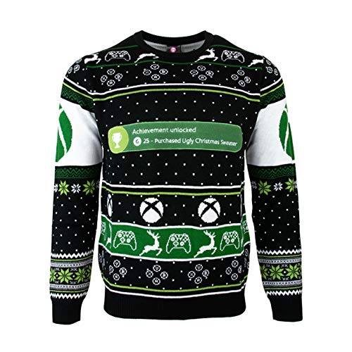 Numskull Unisex Official Xbox One Achievement Unlocked Knitted Christmas Jumper for Men or Women - Ugly Novelty Sweater Gift
