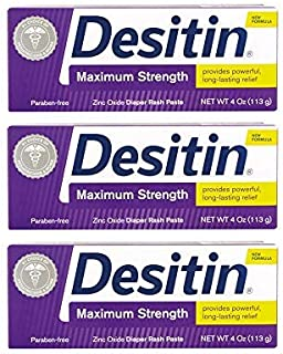Desitin Maximum Strength Diaper Rash Paste 4 oz tube (Pack of 3)