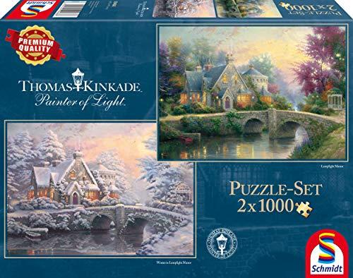 Schmidt Spiele 59468 Thomas Kinkade, Winter in Lamplight Manour, 2 x 1.000 Teile, meerkleurig