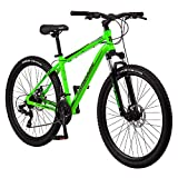 Mongoose Switchback Trail Adult Mountain Bike, 21 Speeds, 27.5-Inch Wheels, Mens Aluminum Large Frame,Neon Green
