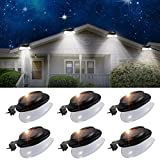 Solar Gutter Lights Outdoor,SMY Upgrade LED Gutter Lights with Adjustable Bracket Waterproof Solar Fence Lights for Eaves Patio Garden Wall Yard Attic Walkway (6pack, Pure White)