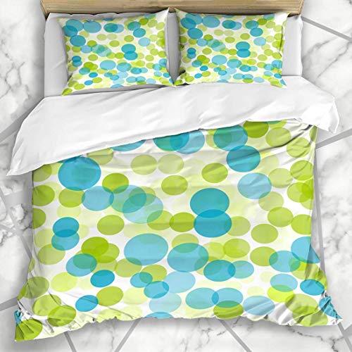 Juegos de fundas de edredón Forma Círculo Verde Azul Lunares Patrón de anillo Color Funky Luz Agua Moderno Blanco Ropa de cama de microfibra con 2 fundas de almohada Cuidado fácil Antialérgico Suave S