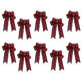 ERUYN 10 Piezas de arpillera de Navidad Hecho a Mano Bowknot Navidad Festival decoración Lazo Rojo a Cuadros