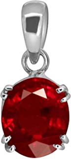 Sidharth Gems Certified Deluxe Quality Natural 9.25 Ratti 8.23 Carat Natural Ruby Manik Ashtadhatu Silver Plated Pendant/L...