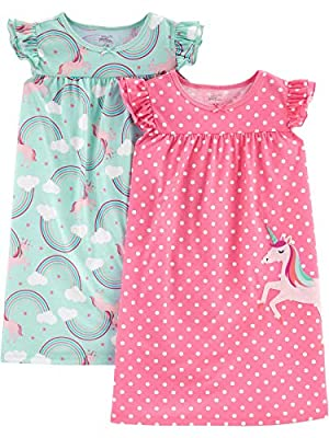 Simple Joys by Carter's Girls' Little Kid 2-Pack Nightgowns, Unicorn/Rainbow, 6-7 by Simple Joys by Carter's