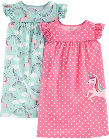 Simple Joys by Carter s Girls Little Kid 2 Pack Nightgowns Unicorn Rainbow 8 10 product image