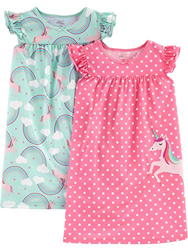 Simple Joys by Carter's Girls' Little Kid 2-Pack Nightgowns, Unicorn/Rainbow, 6-7