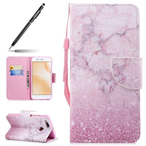 Uposao Kompatibel mit Xiaomi 5X/Xiaomi Mi A1 Leder Tasche Schutzhülle Handytasche Ledertasche Lederhülle Bunt Muster Klapphülle Book Hülle Schutzhülle Flip Hülle Cover,Rosa Marmor