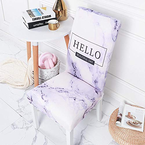 JRLTYU Fundas de sillas Patrón de Letra Negro púrpura Blanco Fundas de Silla de Comedor Spandex Fundas Protectoras para Sillas Desmontable para Boda,Hogar,Restaurante Juego de 2 Piezas