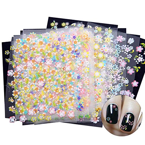 SENDILI Nail Art Stickers Decals - 30 pcs/Set 3D Nail Art Decals Self Adhesive DIY Nail Salon Various Mix Flowers Transparent Decoration for Women Girls Kids 5.2 * 6.2CM