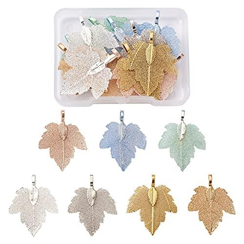 Beadthoven, 14 ciondoli a forma di foglia in filigrana 7 colori alla moda in filigrana Boho naturale con foglie d'uva con cauzione di ferro per collane e gioielli