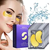 24K Gold Eye Mask, Arlega Under Eye Masks for Reduces Wrinkles and Puffiness, Lighten Dark Circles Moisturizing and Anti Aging, with Hyaluronic Acid and Collagen, 16 Pairs