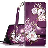 Hocase Galaxy S10 Plus Case, PU Leather Full Body Protective Phone Case with Credit Card Holders, Wrist Strap, Magnetic Closure for Samsung Galaxy S10 Plus (6.4-inch) 2019 SM-G975 - Burgundy Flowers