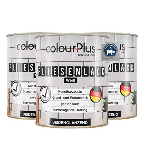 colorPlus® Fliesenlack (3x750ml, Weiß) seidenglänzender 1K Fliesenlack Weiß - Farbe für Fliesen - Fliesen streichen - Fliesenfarbe Bad - Made in Germany