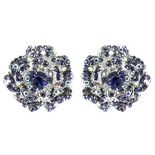 Morado de plata vintage Movie Star Flower pendientes