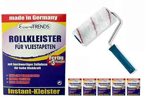 Kleisterroller 18cm + 5 Stück Rollkleister für Vliestapeten 200g für ca. 100qm Tapeten