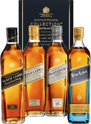 Johnnie Walker Whisky The Collection Black 12 Jahre, Platinum 18 Jahre, Gold Reserve & Blue Label 4x 0,2 L