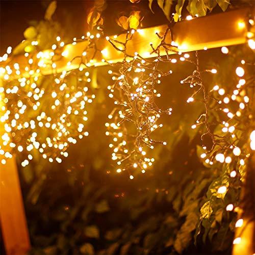 10 Metri Luce Catena Luminosa 500 LED Bianco Caldo Luci Esterno Professionali IP44 Impermeabile Luci Decorativa da Interni e Esterni per Casa Festa Giardino Natale
