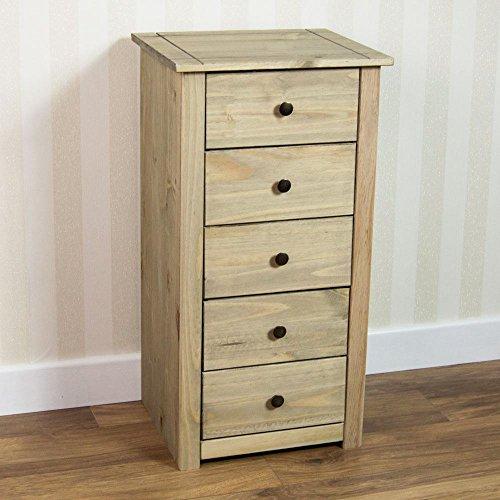 Vida Designs Panama 5 Drawer Narrow Chest In Natural Wax Oak Solid Pine Bedroom Furniture