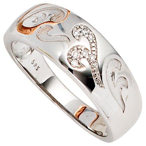Damen Ring 585 Gold Weißgold mattiert 7 Diamanten Brillanten 0,04ct. Goldring - 54