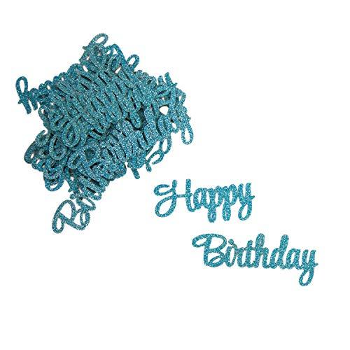 Oblique Unique® Konfetti Set Happy Birthday - 12x Happy + 12x Birthday - Tisch Deko für Geburtstag Kindergeburtstag Junge in Blau mit Glitzereffekt