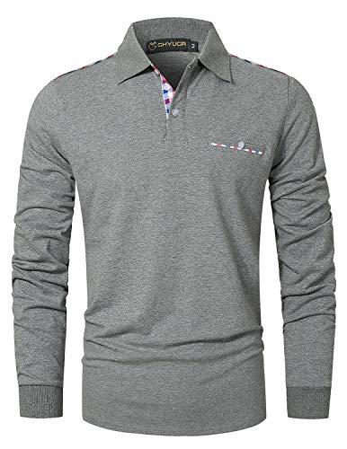 GHYUGR Polos Hombre Manga Larga Camiseta Bolsillo a Cuadros Clásico Slim fit Deporte Golf Tennis Oficina T-Shirt,Gris...