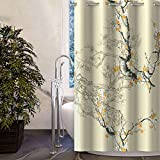 Lagute Snaphook Oriental Hook Free Shower Curtain Liner Set | 74 in (L) x 71 in (W) | Removable PEVA Sanp-in Liner Attached | Machine Washable | No Hook Needed (Plum Blossom)