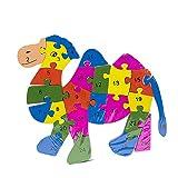 Byoeko Puzzle Figuras de Madera con numeros y abecedario (Camello)