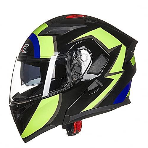 WYNBB Casco De Motocicleta Integrado con Bluetooth,con Auricular Bluetooth Casco Modular Casco De Choque De Carreras Aprobado por ECE,B3,L
