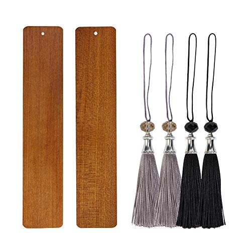 OLYCRAFT 2PCS Natural Wooden Bookmarks Blank Unfinished Wood Bookmarks with 4pcs Tassels for Arts and Crafts Projects 59x12 Inch
