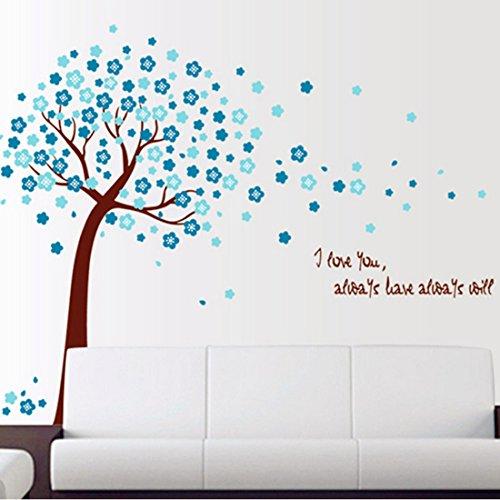 La forme d'arbre avec des fleurs bleues Autocollant mural de PVC à la maison papier peint en vinyle pour la décoration papier peint au salon, à la chambre et à la cuisine les photos d'art DIY à la salle de jeux pour des enfants