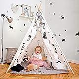 Hakuna Matte Tente tipi pour Enfants avec Design scandinave élégant - Tente de Jeu avec Tapis rembourré, Attrape rêves, Sac de Transport - Tente Tipi 100% Coton et Bois de pin, certifiée EN71