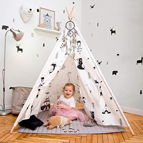 Hakuna Matte Tipi Tent voor kinderen – Stijlvolle speeltent in Scandinavisch design met speelkleed, dromenvanger en draagtas – Kinderspeeltent bestaat uit 100% katoen en grenenhout, EN71-certificaat