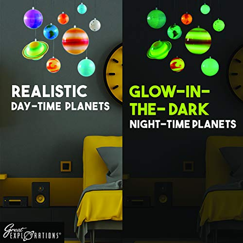 Great Explorations 3-D Solar System Glow In The Dark Ceiling Hanging Kit 3D Planets and Star Stickers Create the Milky Way Teach Science STEM, Multicolor (UG-19862)
