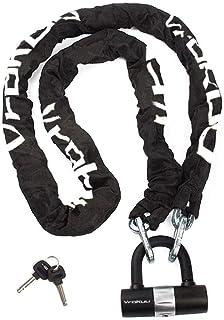 バイクロック【高い耐切断性】極太チェーンロック U字ロック付き 盗難防止 重量感 ブラック(2.0m/5kg)