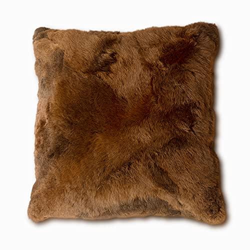 La Maison peruana Super Soft Throw - Cojines de almohada de piel de alpaca natural - Fundas para sofá, almohada de cama y cojín de silla (Capuchino)