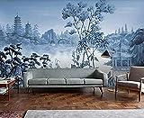 Tapete 3D Wandbild Pavillon Vintage Hand Drawn Idyllische 3D Wandbilder Wohnzimmer Sofa TV Wand...