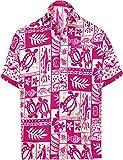 LA LEELA Men's Hippie Tropical Button Up Short Sleeve Hawaiian Shirt 5XL White_W127