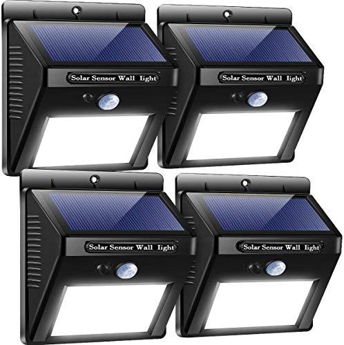 lampe solaire extérieur, 20 LED 4 Solar Lamps Waterproof Spot Solaire Extérieur avec 3 Modes Intelligents Lumière Lumiere Solaire Detecteur de Mouvement led éclairage Solaire Étanche pour Jardin