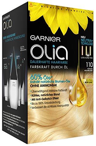 Garnier Olia Haar Coloration Kühles Aschblond 110 / Färbung für Haare enthält 60% Blumen-Öle für intensive Farbkraft / Anti-Gelbstich-Effekt - Ohne Ammoniak - 3 x 1 Stück