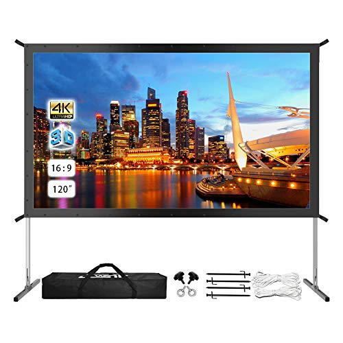 Find Bargain Projector Screen with Stand, Upgraded 120 4K HD Outdoor/Indoor Portable Projector Scre...