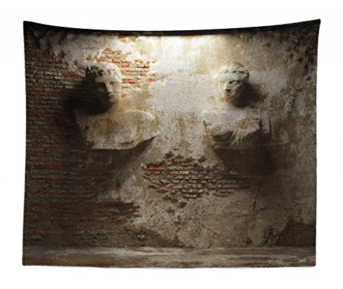 Lunarable Sculptures Tapestry King Size Aged Cculptures Stonewall Rusty Dark Cellar Ancient Stonemasonry Print Wall Hanging Bedspread Bed Cover Wall