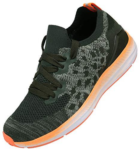 KOUDYEN Zapatillas Deporte Hombres Mujer Gimnasio Running Zapatos para Correr Transpirables Sneakers,XZ581-Orange-EU42