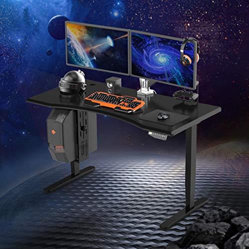 FLEXISPOT Gaming Desk Height Adjustable Electric Standing Desk Three-Stage Frame with Tabletop(Black) (Black Frame + Black Desktop)