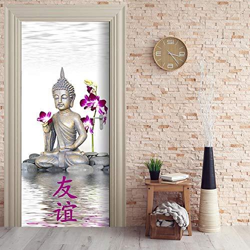 UDKHJH Türtapete Selbstklebend Türposter 3D Buddha Statue Kunst Kreativität Türaufkleber Fototapete 3D Effekt Türfolie Wandtattoo Wandbild 77x200cm DIY Wohnzimmer Schlafzimmer Büro Wohnkultur Dekorati
