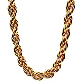 Pincute Heavy Huge Gold Rope Chain Necklace, 18k Real Gold Plated Twist Rope Chain for Rap Gangsta, 9mm 28inch Length
